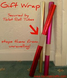 toilet roll tubes used as gift wrap holders. Genius!