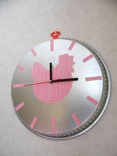idée customiser une grande horloge avec de beaux papiers colorés
