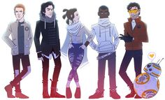 Fanart of the TFA gang | Hux, Kylo Ren, Rey, Finn, Poe Dameron, and BB-8 by enerjax They look like a band