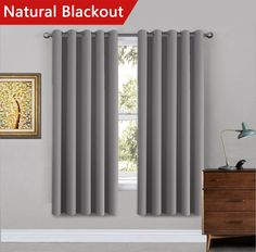 "H.Versailtex Bedroom Solid Thermal Supersoft Blackout Curtains with Two FREE Tiebacks - Grey, 66"" Width x 72"" Drop, Set of 2 pieces"