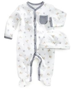 First Impressions Baby Set, Baby Boys Footed Coverall and Beanie - Blue 3-6 months