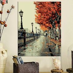 Landscape Art Oil Painting on Canvas Fall in Love in Autumn Handmade
