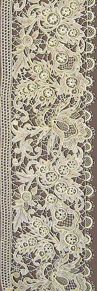 Needle Lace borders from Erzgebirge mountains Germany 1884 in the Victoria and Albert Museum