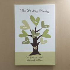 Personalized Family Tree Gift Idea - Adorable canvas features up to 8 family member's names on the heart-shaped leaves.  Add the family name to the top and the year to the tree trunk.