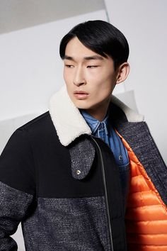 Sang Woo Kim wears a shearling collared multi-textile jacket from Lacoste Live's fall-winter 2016 collection. Sport Photography, Fashion Photography, The Fashionisto, French Brands, Lacoste, Men's Collection, Fall 2016, Cool Style, Cool Outfits
