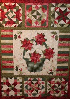 Poinsettia wall hanging - ready to go to the quilters