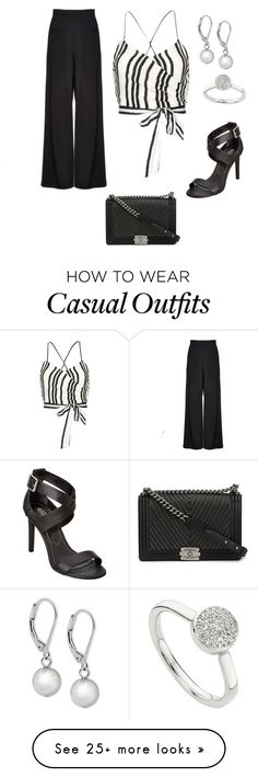 """Black stripe top - Casual"" by brittjade on Polyvore featuring Alice + Olivia, Chanel, Monica Vinader, Charles by Charles David and Lauren Ralph Lauren"