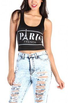 Paris Crop Tank Top - Black