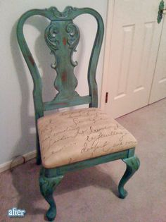 Better After: Old chairs, new life. LOVE this ugly chair makeover Repurposed Furniture, New Furniture, Furniture Projects, Furniture Making, Painted Furniture, Furniture Design, Old Chairs, Vintage Chairs, Metal Chairs
