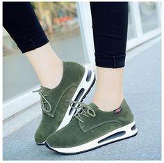 Student-Korean-Women-Lace-Up-Flats-Hiking-Running-Shoes-Wedge-Platform-Sneaker