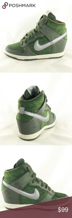 Nike Dunk Sky Hi Carbon Green Wedge Heel Sneakers Like new ALL AROUND! No longer in production limited edition carbon green wedge sneakers. You'll see these still going north of $100 easily up to $250, if at all.  Series number: 528899-302 Size 8 Wedge Height 2.5 inches Nike Shoes Wedges