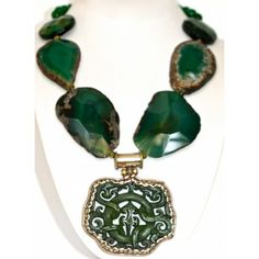 Green Agate and Jade Pendant Necklace. Ordered... right now!