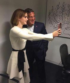 Emma Watson with Bob Mortiz at the celebration of the 2nd anniversary of UN Women's HeForShe initiative! #emmawatson #bobmortiz