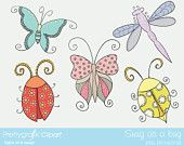 Snug as a bug Digital Clipart for scrapbooking & design, bugs, insects, butterfly, lady bug, dragonfly - PGCLPK328