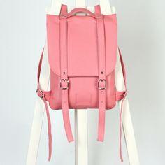 Крабово-розовый рюкзак из гладкой кожи