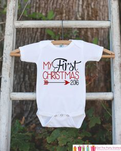 7cb5790259f My First Christmas Outfit - 2017 Christmas Onepiece - Baby s First Christmas  Arrow for Baby Boy or Baby Girl - My 1st Christmas Outfit