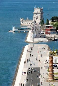 Lisbon front river walkway with the Belem Tower. Most Beautiful Cities, Beautiful Places To Visit, Great Places, Places To Go, Sintra Portugal, Spain And Portugal, Algarve, Spain Tourism, Lisbon City