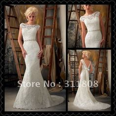 Free Shipping 2013 Boat Neck Mermaid Beaded Lace Low Back Short Sleeve Wedding Dress-OYB278 on AliExpress.com. $202.68