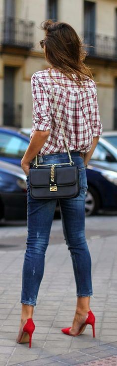 Stlye Me Hip: Chic Plaid and Skinnies Jeans with Pop Red Heels |...