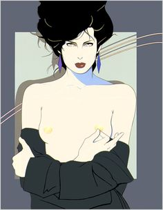 Patrick Nagel - Untitled Acrylic on board Playboy illustration