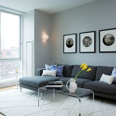 paint color for new apartment?  with the dark gray couches + pops of yellow