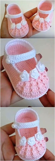 Crochet Baby Girl Shoes In 15 MinutesYou can find Crochet baby shoes and more on our website.Crochet Baby Girl Shoes In 15 Minutes Crochet Baby Sandals, Booties Crochet, Baby Girl Crochet, Crochet Baby Clothes, Baby Blanket Crochet, Baby Booties, Crochet Hats, Baby Knitting Patterns, Baby Patterns