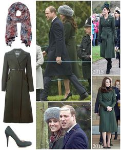 To this morning's church service The Duchess was back in her forest green Sportmax 'Long Belted Coat'. Originally selling for $1895, the coat has been worn by Kate to the 2015 Christmas Day service as well as a visit to a primary school in Edinburgh two months later in 2016. It was also a return to her Emmy 'Valerie' pumps in carbon grey - available for £400. Kate wore a new scarf from LK Bennett. The Sammi Silk Scarf retained for £110 but is now sold out. Kate's hat is a new piece; I wil...