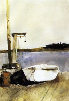 Pleasant Point. Water Color by Andrew Wyeth.  A skiff next to a lobster scale --  a moment of peace and quiet.