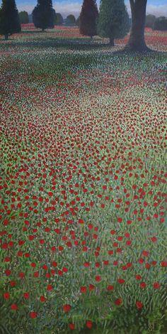 Poppy Fields Provence Original Oil by Ton Dubbeldam