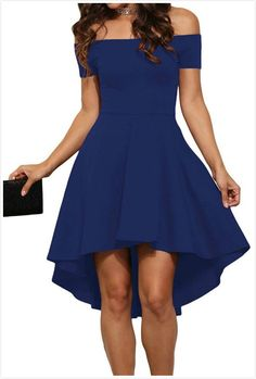 Off the shoulder dresses are the perfect choice for warm summer evening. Perfect wear with a pair of black strappy high heels.