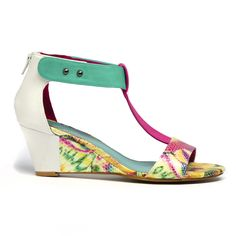 Bazzy by I Love Billy. #ilovebilly #cinorishoes #cinori #midheel #comfortableshoes #heels #anklestrap #sandal #wedge #Under100 #greenandpink #print #pretty #races #affordable #fashion