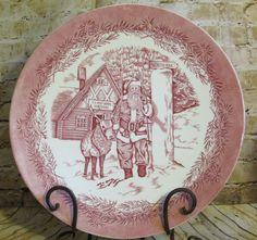 Wedgwood Pottery Mayfair Platter Olde St. Nick Santa Claus Christmas Cake Plate  #Wedgwood