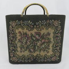 Vintage Floral Tapestry Tote Bag Brass Handles Hard Sides Knitting Bag  Black  Unbranded  Tote 27c24a30e3379