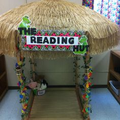 A reading hut for my kindergarten classroom. I have this idea only with elephants and a jungle theme!