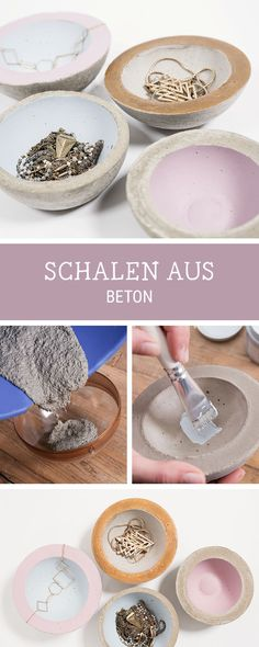 Einfaches DIY: Schale aus Beton selbermachen, Betonideen / how to craft a little bowl with concrete via DaWanda.com