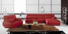 Vig Vgbnbo3929A Bo3929A Modern Red Leather Sectional Sofa | Dazillion