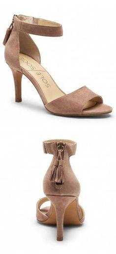 7c36d94db6f Luxurious suede mid heel sandals with fun zipper tassels