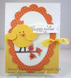 handmade Easter card: Happy Easter chick punch art by . yellow, orange and white . like the patterned papers with subtle prints . orange polka dot scalloped frame for oval focal point . Tarjetas Diy, Punch Art Cards, Art Carte, Greeting Cards Handmade, Handmade Easter Cards, Paper Cards, Creative Cards, Kids Cards, Scrapbook Cards
