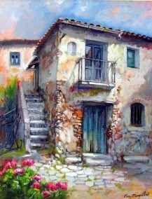 Watercolor Landscape, Landscape Art, Landscape Paintings, Watercolor Paintings, Pintura Colonial, Scenery Paintings, Italy Art, Cottage Art, Art Sketchbook