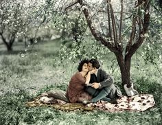 "1921: Alla Nazimova and Rudolph Valentino in a colorized still from ""Camille."""