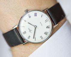 Classy men's watch Ray slim gent's watch black white by SovietEra