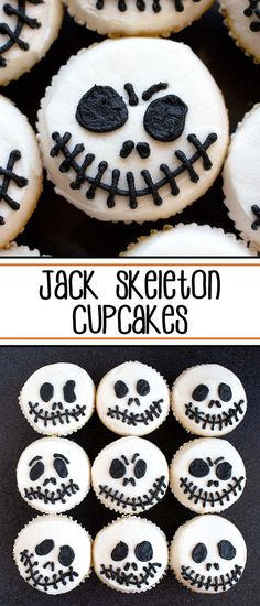 Jack Skeleton Cupcakes - get your scare on with these easy, fun, and spooky Halloween cupcakes. #halloweencupcakes #halloween #jackskeletoncupcakes #jackskeleton #cupcakes #halloweendesserts #halloweentreats via @SarahsBakeStudio