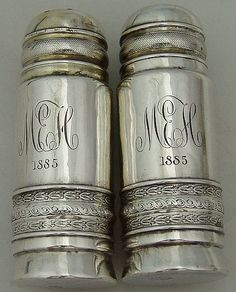 Salt Pepper Shakers Gorham 1885 Sterling Silver. The engraved initials add so much warmth and character