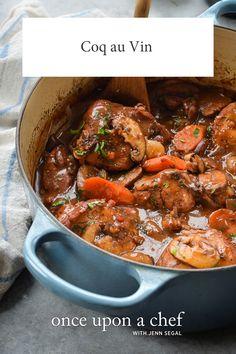 Coq au Vin Food Recipes For Dinner, Food Recipes Keto Turkey Recipes, Chicken Recipes, Dinner Recipes, Turkey Dishes, Dinner Ideas, How To Cook Chicken, Chicken Wine, Cashew Chicken, Weeknight Meals