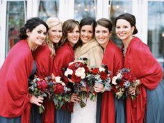 Festive winter shawls: http://www.stylemepretty.com/2015/10/30/classic-winter-church-wedding/ | Photography: DeFiore Photography - http://www.defiorephotography.com/