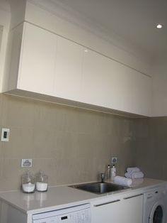 White laundry grey splash back Kitchen Backsplash, Kitchen Cabinets, Beautiful Homes, Building A House, Laundry, Sweet Home, House Renovations, Kitchen Ideas, Grey