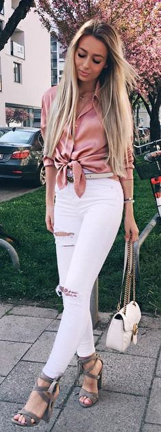 #summer #outfits  Pink Bow Blouse + White Ripped Skinny Jeans + Grey Sandals 🌸🌸🌸
