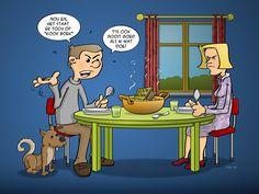#cartoon; Een #geëmancipeerde man helpt waar hij kan!