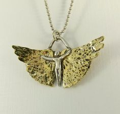 Tara is Unfolding Herself - Upcycled Sterling, Brass, And PMC - Art Jewelry Pendant - 919. $103.00, via Etsy.