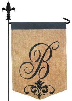Script Letter B Burlap Monogram Garden Flag